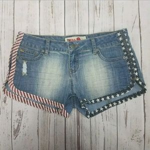 1st Kiss Shorts Size 9 Mini Blue Denim Patriotic